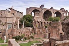 Sikt av huset av vestalsna och basilicaen royaltyfri fotografi