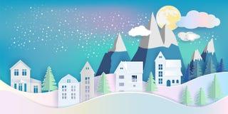 Sikt av huset och att sörja trädet med berget i vinternatt under stock illustrationer