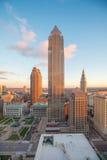 Sikt av i stadens centrum Cleveland Arkivfoto