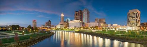 Sikt av i stadens centrum Columbus Ohio Skyline Royaltyfri Fotografi
