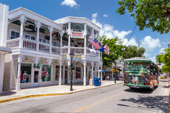 Sikt av i stadens centrum Key West, Florida Arkivfoton
