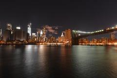 Sikt av i stadens centrum Manhattan efter den sandiga orkanen Arkivfoto