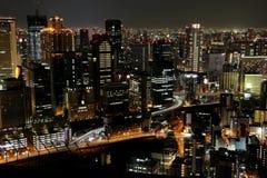 Sikt av i stadens centrum Osaka Arkivfoton
