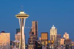 Sikt av i stadens centrum Seattle horisont Fotografering för Bildbyråer