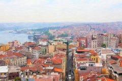 Sikt av Istanbul från det Galata tornet Royaltyfria Foton