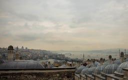 Sikt av Istanbul från taket Royaltyfria Foton