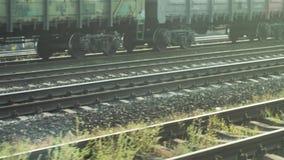 Sikt av järnvägspår från vagnen ett drev lager videofilmer