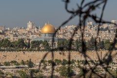 Sikt av Jerusalem den gamla staden, Israel arkivfoto