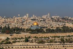Sikt av Jerusalem den gamla staden och tempelmonteringen, Jerusalem royaltyfria bilder