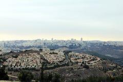 Sikt av Jerusalem från monteringen av profeten Samuel Arkivfoto