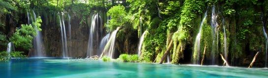 Sikt av kaskaden i kroatiska nationalparkPlitvice sjöar Arkivfoto