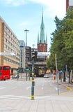 Sikt av Klara Cathedral i Stockholm, Sverige Arkivbild