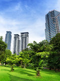 Sikt av KLCC-området i Kuala Lumpur Royaltyfria Foton