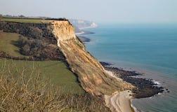 Sikt av klipporna på den Salcombe Regis stranden från den södra västra kust- banan på den Salcombe kulleklippan ovanför Sidmouth, arkivfoton