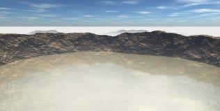 Sikt av krater som fylls med vatten Arkivbilder