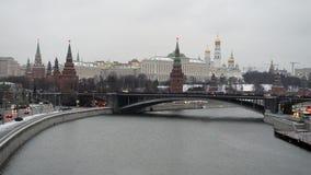 Sikt av Kreml i vintern, Moskva, Ryssland lager videofilmer