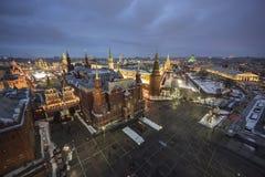 Sikt av Kreml och Moskvafloden Arkivfoton