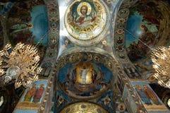 Sikt av kupolen inom helgon Peter och Paul Cathedral Arkivfoto