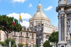 Sikt av kupolhelgonet Agatha Cathedral, Catania Arkivfoto