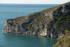Sikt av kusten av Javea Arkivfoton