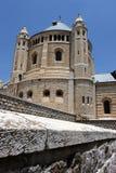 Sikt av kyrkan av Dormition på Mount Zion arkivfoto