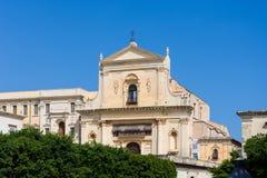 Sikt av kyrkan av Santissimo Salvatore i Noto, Sicilien arkivfoton