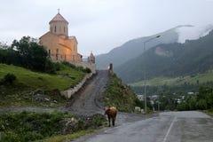 Sikt av kyrkan av St Nicholas i byn av Mestia arkivbild