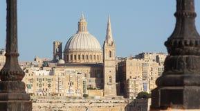 Sikt av La Valletta från Sliema Malta Royaltyfri Fotografi