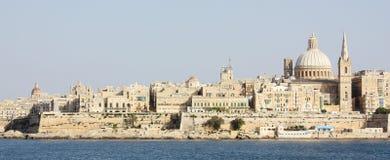Sikt av La Valletta från Sliema Malta Royaltyfria Bilder