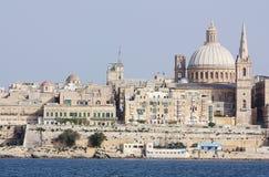 Sikt av La Valletta från Sliema Malta Fotografering för Bildbyråer