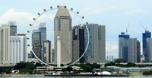 Sikt av lagunhavet och byggnader i Singapore Arkivfoton