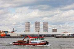 Sikt av lastport i Rotterdam Royaltyfria Bilder