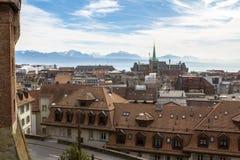 Sikt av Lausanne från domkyrka Royaltyfri Bild