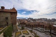 Sikt av Lausanne från domkyrka Royaltyfria Foton