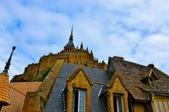 Sikt av Le Mont Saint-Michel Arkivbilder