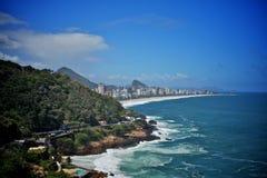 Sikt av leblonstranden i Rio de Janeiro Arkivbild
