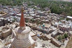 Sikt av Leh, Indien Arkivfoton