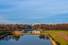 Sikt av Leipzig från monumentet till striden av nationTyskland Royaltyfri Bild