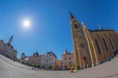 Sikt av Liberty Square i Novi Sad, Serbien arkivbild