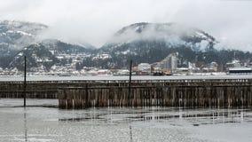 Sikt av lilla staden Namsos, Norge Arkivbilder