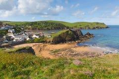 Sikt av lilla viken England UK för hopp för södra Devon kust den near nära Kingsbridge och Thurlstone Arkivbild