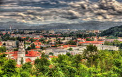 Sikt av Ljubljana från slotten, Slovenien Royaltyfria Foton