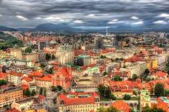 Sikt av Ljubljana från slotten, Slovenien Royaltyfria Bilder