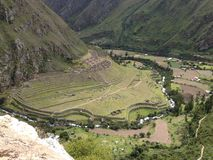 Sikt av Llaqtapata den arkeologiska platsen royaltyfri foto