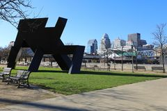 Sikt av Louisville nära riverfronten arkivfoto