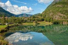 Sikt av Lustrafjorden, Norge Arkivbilder