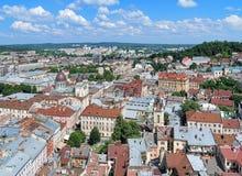 Sikt av Lviv från tornet av stadshuset, Ukraina Arkivbild