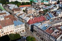 Sikt av Lviv, Ukarine. Fotografering för Bildbyråer
