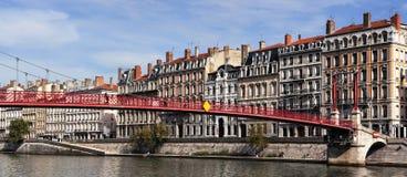 Sikt av Lyon med Saone River Royaltyfri Fotografi