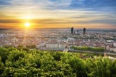 Sikt av Lyon på soluppgång Royaltyfria Bilder